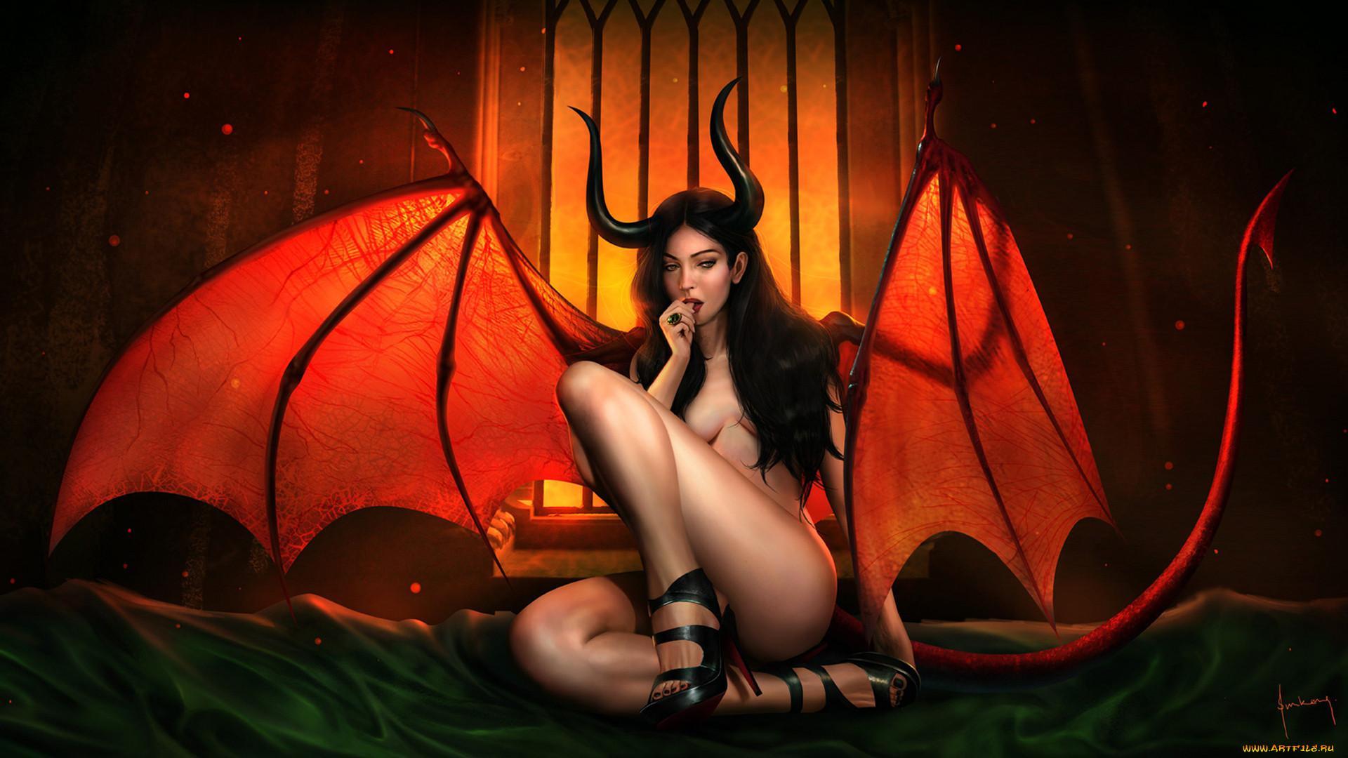 Фэнтези рисунок девушка демон суккуб